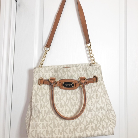 Michael Kors Authentic White & Brown Leather Purse